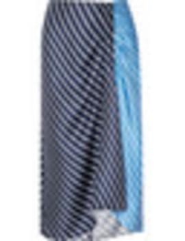 Delphina Ruched Striped Silk Twill Midi Skirt by Tibi