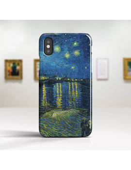"""Vincent Van Gogh, """"Starry Night Over Rhone"""". I Phone X Case Art I Phone 8 Case I Phone 7 Plus Case And More. I Phone X Tough Cases. by Etsy"""