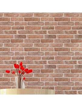 Blooming Wall: 20.8 In32.8 Ft=57 Sq Ft, Wallpaper Yellow Faux Rustic Tuscan Brick Wall Paper Vinyl Roll,Looks Real Up!Brown by Blooming Wall
