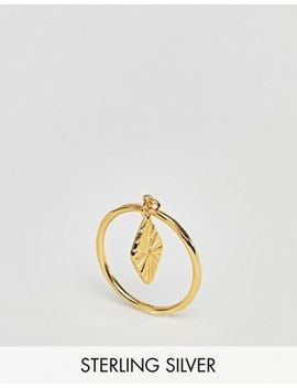 Asos Design Gold Plated Sterling Silver Engraved Diamond Charm Ring by Asos Design