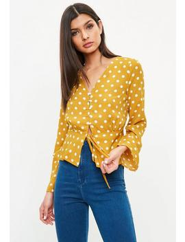 Yellow Polka Dot Flare Sleeve Blouse by Missguided