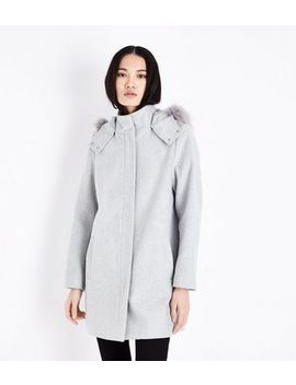 Pale Grey Faux Fur Trim Hooded Duffle Coat by New Look
