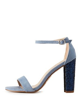 Ankle Strap Glitter Detailed Sandals by Charlotte Russe
