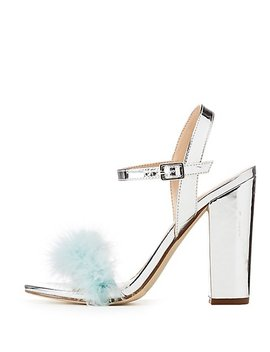 Metallic Feather Trim Sandals by Charlotte Russe