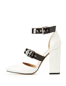 Patent Faux Leather Buckle Block Pumps by Charlotte Russe