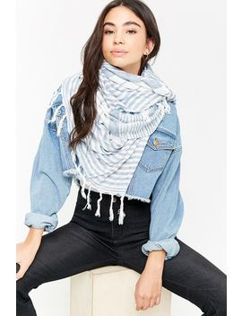 Stripe Tassel Oblong Scarf by Forever 21