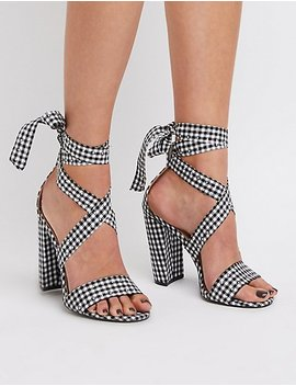 Gingham Print Lace Up Studded Sandals by Charlotte Russe