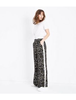 Black Floral Side Stripe Wide Leg Trousers by New Look