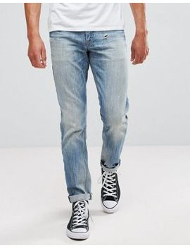 Asos Slim Jeans In Mid Wash Vintage With Abrasions by Asos