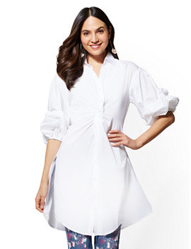 White Twist Front Ruched Sleeve Kimono Shirt by New York & Company