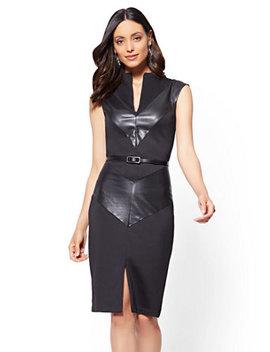 7th Avenue   Faux Leather Chevron Sheath Dress   Black by New York & Company