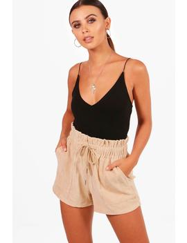 Petite Emily Paperbag Waist Cord Short by Boohoo
