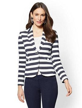 7th Avenue Ponte One Button Jacket   Stripe by New York & Company