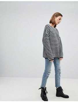 All Saints Oversized Chunky Jumper In Mono Stripe by All Saints