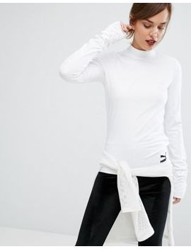 Puma High Neck Top With Extreme Long Sleeves In White by Puma