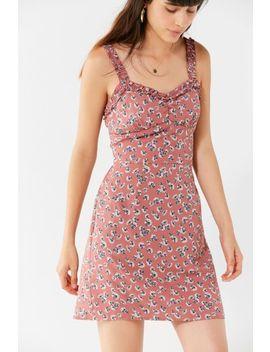 Uo Ruffle Trim Sweetheart Mini Dress by Urban Outfitters
