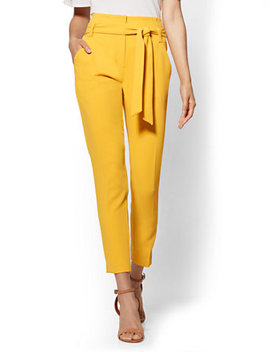 7th Avenue Pant   Yellow Paperbag Waist Slim Ankle by New York & Company