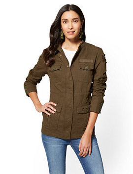 Destroyed Utility Jacket   Olive by New York & Company