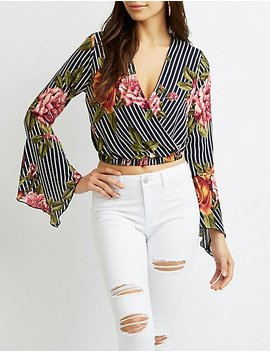 Faux Wrap Bell Sleeve Crop Top by Charlotte Russe