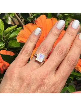 20 Percents Off Sale!! Rainbow Moonstone Ring   June Birthstone   Statement Ring   Gold Ring   Engagement Ring   Rectangle Ring   Cocktail Ring by Etsy