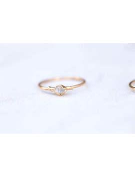 Dainty Boho Ring, Yellow Gold Herkimer Diamond Ring, Thin Raw Ring, Rough Crystal Ring, Raw Crystal Ring, Dainty Crystal Ring, Delicate Ring by Etsy
