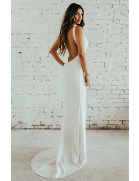 Paloma Plunge Back Trumpet Gown by Noel And Jean