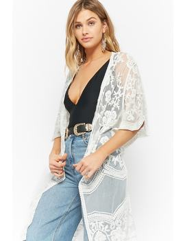 Sheer Floral Embroidered Kimono by Forever 21