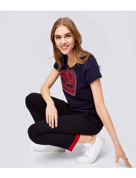 Embroidered Heart Tee by Loft
