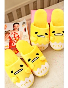 Free Shipping 1 Pair Cartoon Animation Gudetama Lazy Egg Funny Winter Home Floor Slippers Holiday Toy For Gift by Wild Finding