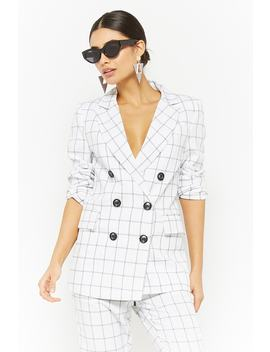 Grid Print Double Breasted Blazer by Forever 21