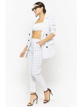 Grid Print Drawstring Ankle Pants by Forever 21