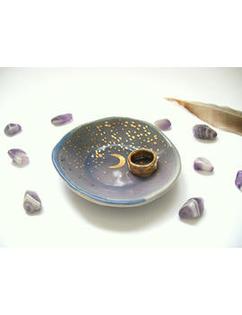 Starry Gold Moon Ring Dish In Dark Purple Ombre. Ceramic Pottery, Trinket Rings Holder, Gift For Her, Crescent Moon, Jewelry Storage by Etsy