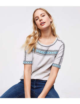 Embroidered Flecked Ballet Neck Tee by Loft