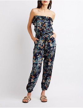 Ruffle Front Floral Jumpsuit by Charlotte Russe