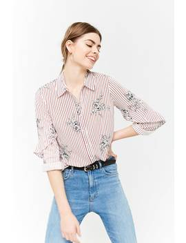 Pinstriped Floral Shirt by Forever 21