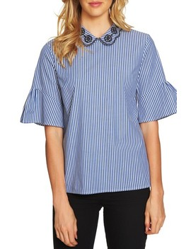 Ruffle Sleeve Stripe Top by Cece