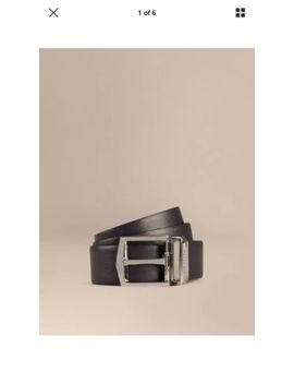 Authentic New Burberry Men Navy / Black Reversible James Leather Belt 33 36 100 by Burberry