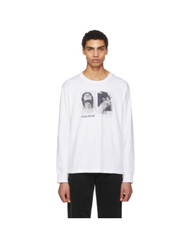 White Peter Hajar Long Sleeve 'look Up And Side Face' T Shirt by Helmut Lang