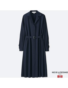 Women Idlf Rayon Shirt Long Sleeve Dress by Uniqlo