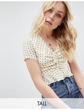 Glamorous Tall Crop Top With Ruched Tie Front In Ditsy Floral by Glamorous Tall