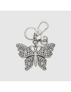 Metal Butterfly With Crystals Keychain by Gucci