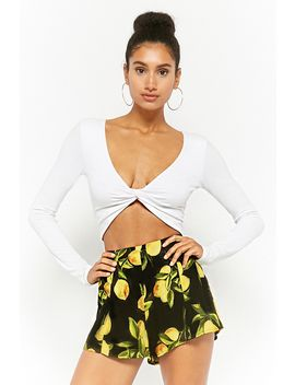 Lemon Print Woven Shorts by Forever 21