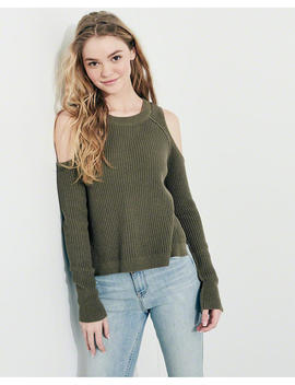 Cold Shoulder Crewneck Sweater by Hollister