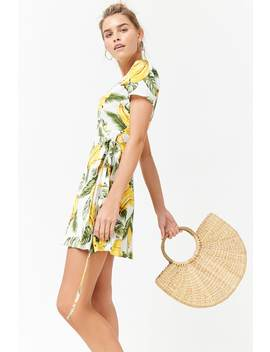 Banana Print Wrap Dress by Forever 21