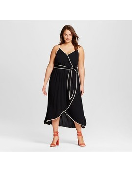 Women's Plus Size Wrap Dress   Who What Wear™ Black by Who What Wear