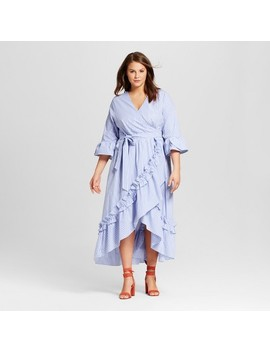 Women's Plus Size Ruffle Wrap Dress   Who What Wear™ Blue Stripe by Who What Wear