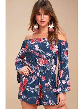 Wildwood Flower Navy Blue Tropical Print Off The Shoulder Romper by Lulus