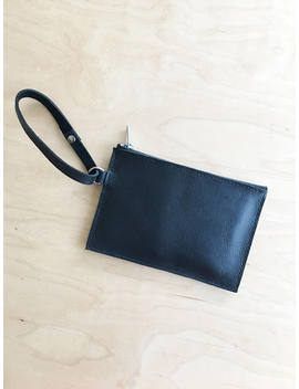 Soft Leather Wristlet, Black by Etsy
