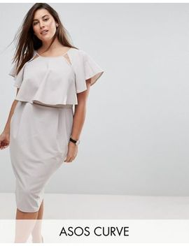 Asos Curve Double Layer Midi Wiggle Dress With Angel Sleeve by Asos Curve