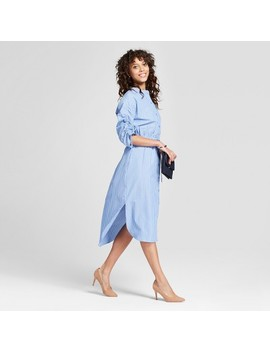 Women's Striped Shirt Dress With Ruched 3/4 Sleeve   Mossimo™ Blue by Mossimo